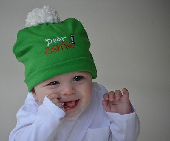 fba52f7442e Baby Christmas Beanie Dear Santa CHOOSE COLOR Green or Red