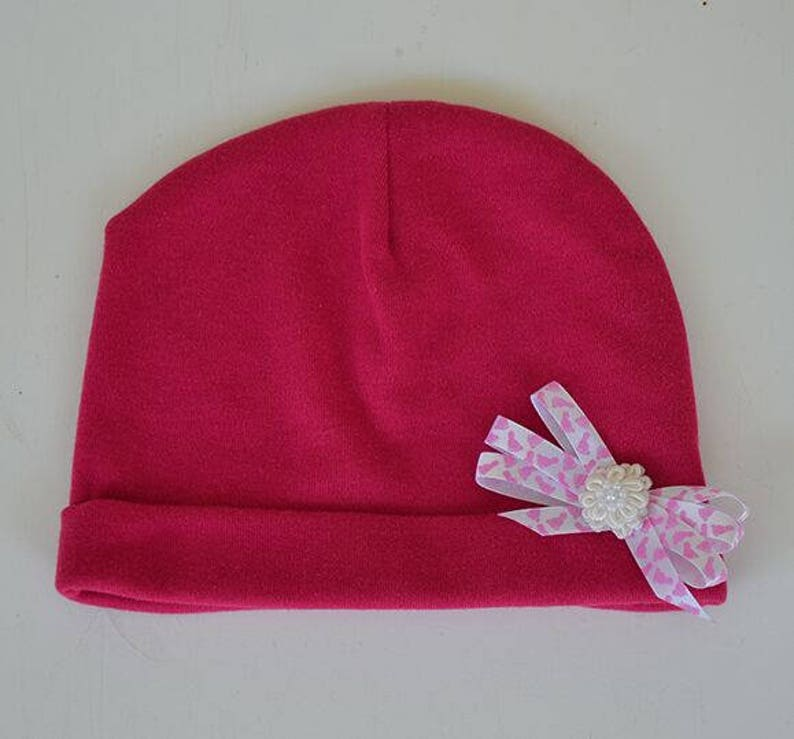 b4a773718be88 Baby Beanie Knit Hat Baby Bright Pink White Pink Bow Baby Gift Newborn to 6  Months Pink Stretchy Slouch Hat Baby Hats Photo Prop Outer Wear