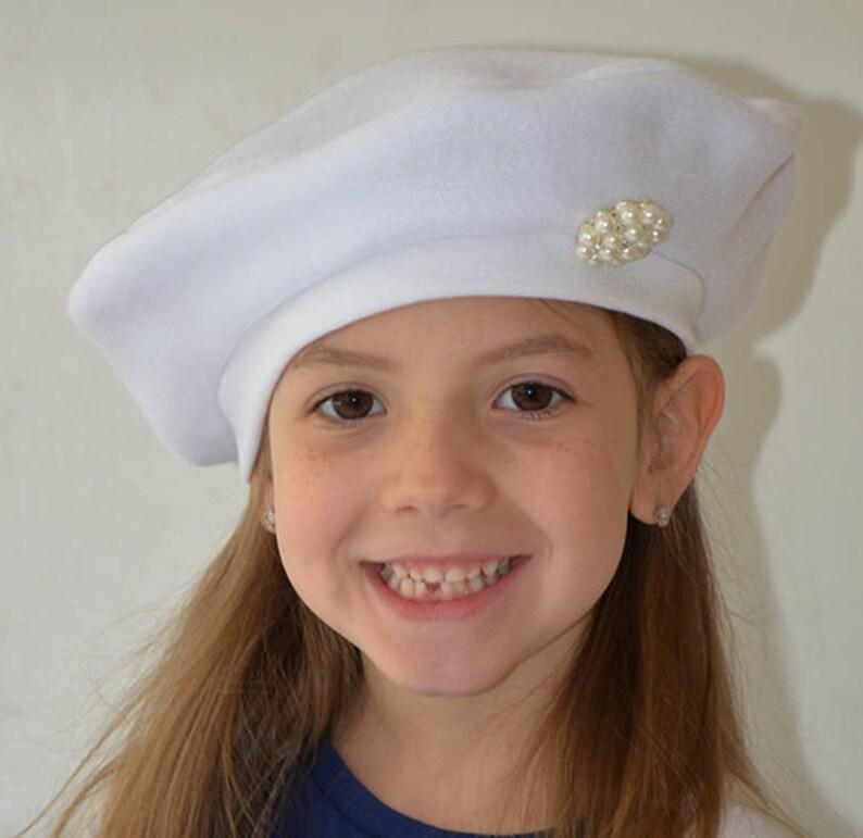 f55ee05c Girls Fleece French Beret CHOOSE COLOR Kids Hat Pearl | Etsy