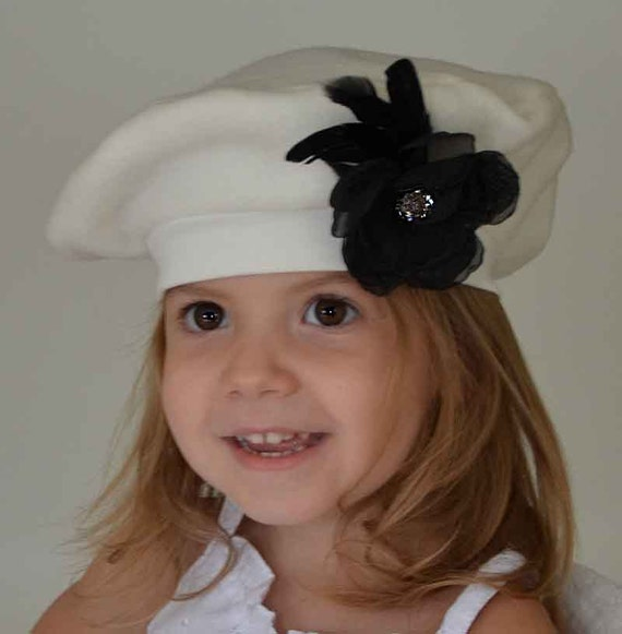 Girls French Beret Kids Hat Cream Winter White Black Flower  f946ae3146a