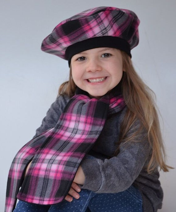 Girls French Beret and Reversible Scarf Kids Hats Christmas  f7593785654