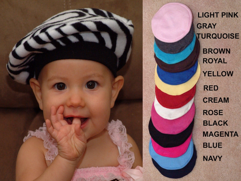 45a470d66 Baby Hat Kids French Beret CHOOSE COLOR Baby French Beret Kids Hat Fleece  Hat Zebra and Solids Print Hat Outer Wear Kids Costume Winter Wear