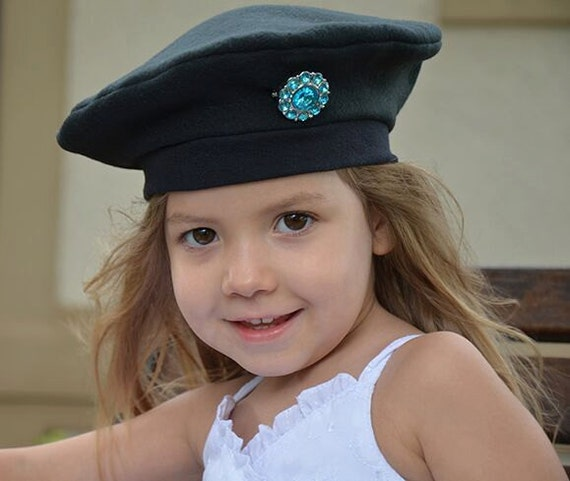 Girls French Beret Black Kids Hat Black Turquoise Rhinestone  08fb2abd407