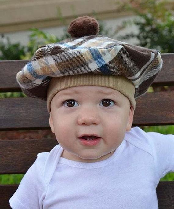 Béret Français bébé avec Pom Pom flanelle bruns bronze blanc   Etsy 72847109837