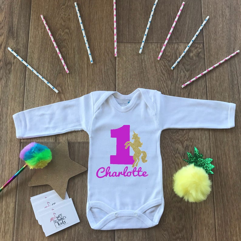 Custom Baby Gift Bodysuit Baby Baby Girl Coming Home Outfit 1st Cake Smash,Baby Shower Unicorn Baby Shirt Unicorn First Birthday Outfit