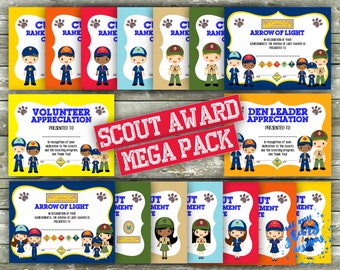 ed9cd39af6c2 Cub Scout Rank Advancement MEGA Certificate Pack - 36 Printable Awards
