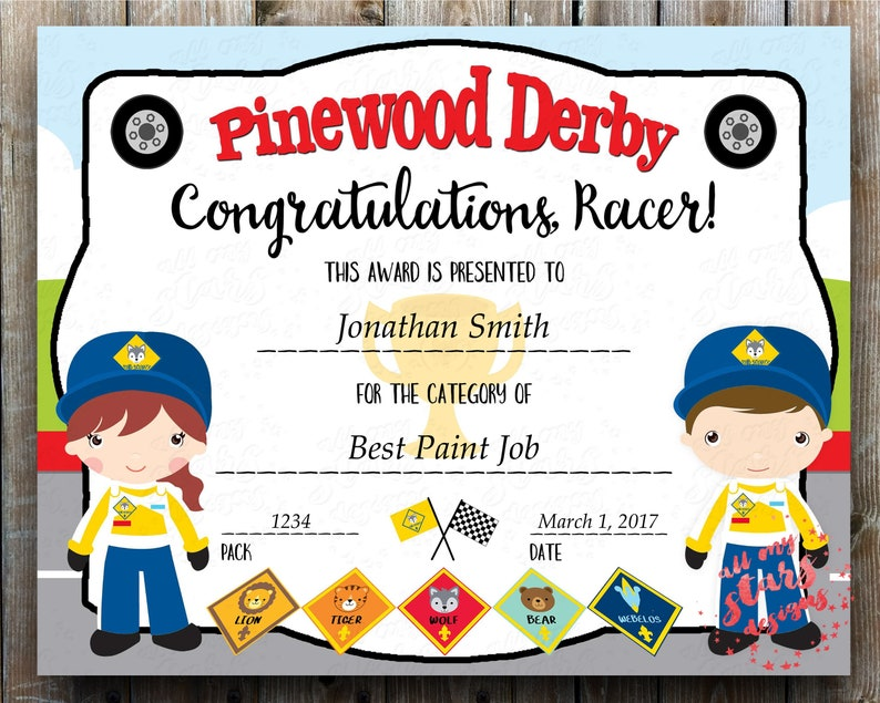 Cub Scout Pinewood Derby Category Certificate New *BOYS /& GIRLS INCLUDED Pdf Printable Award with Fillable Fields Instant Download