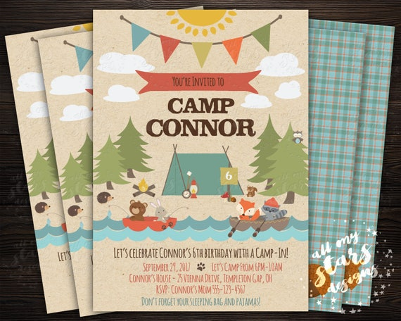 camp fun camping party invitation boy s camp themed etsy
