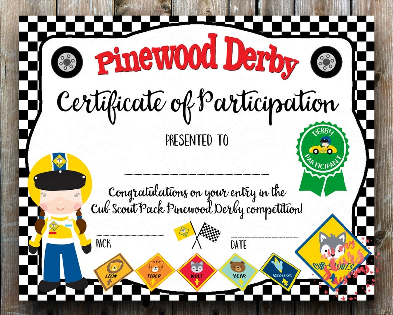 photograph about Pinewood Derby Awards Printable called Cub Scout Pinewood Derby Certification of Participation Racing Award *Woman*- PDF with Fillable Fields Quick Down load Derby Certification