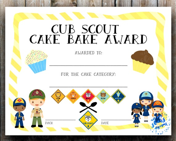 graphic about Cub Scout Printable referred to as Cub Scout Cake Bake Award Certification - 8.5x11\
