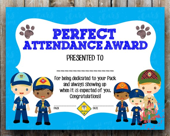 cub scout perfect attendance award 8 5x11 blank etsy