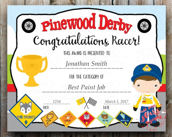 Cub Scout Pinewood Derby Category Certificate Pdf Printable Award With Fillable Fields Instant Download Racing Certificate