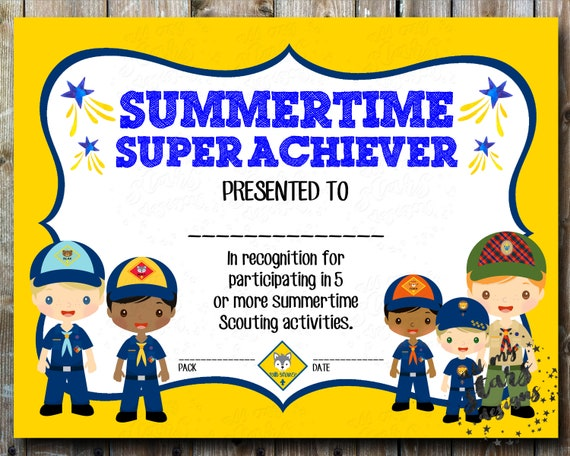 graphic relating to Cub Scout Printable Activities titled Summer season Tremendous Achiever Cub Scout Summer season Sport Award - 8.5\