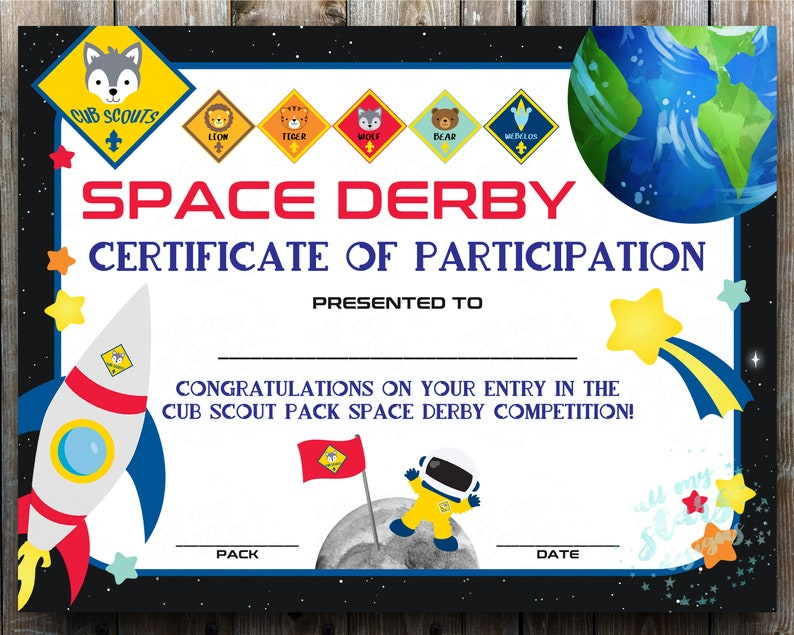 picture regarding Pinewood Derby Awards Printable identified as Cub Scout Room Derby Participation Certification - Do it yourself Printable Award  Prompt Down load Racing Player Award Rocket Derby