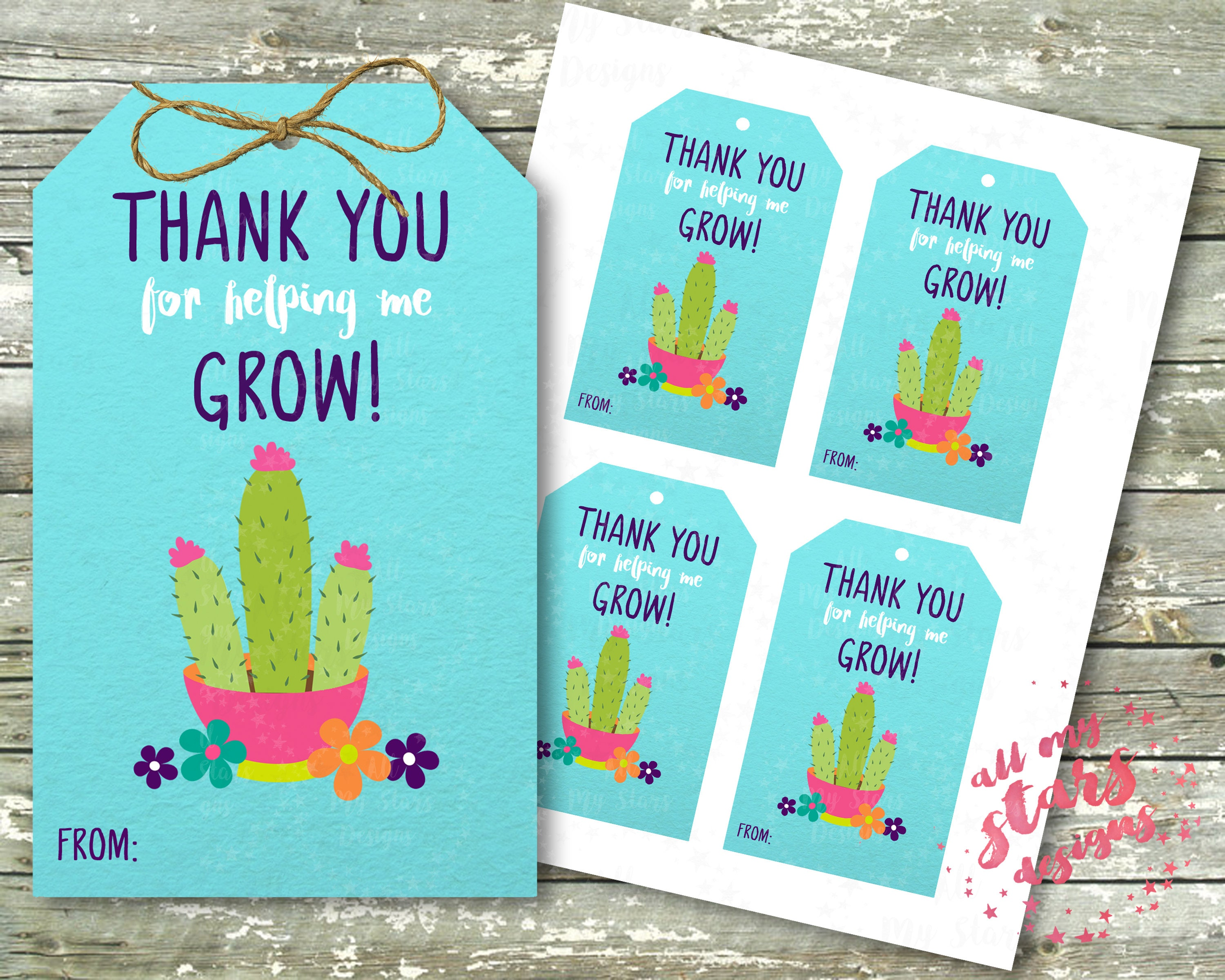 Thank You For Helping Me Grow Cactus Teacher Appreciation Etsy