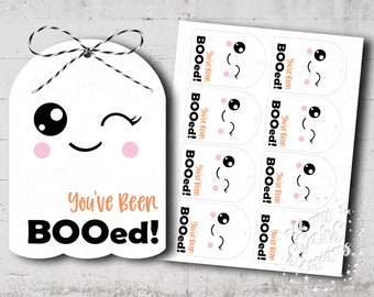 PRINTABLE You've Been BOOed! Happy Halloween! Cute Ghost Gift Tag   Instant Download   Halloween Package Tie   Sweet Halloween Boo Tag