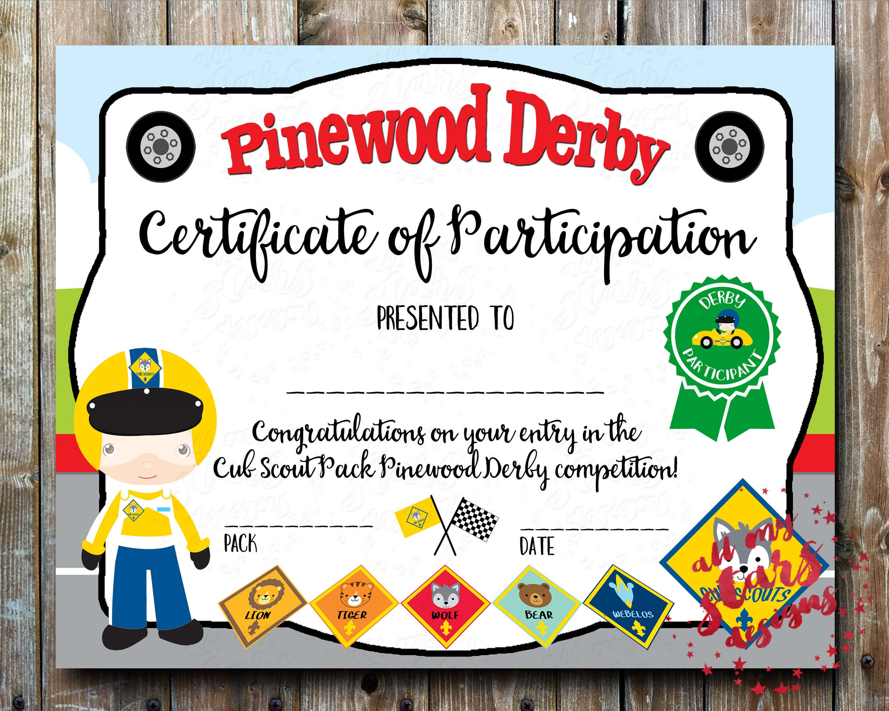 Cub Scout Pinewood Derby Participation Award PDF Certificate