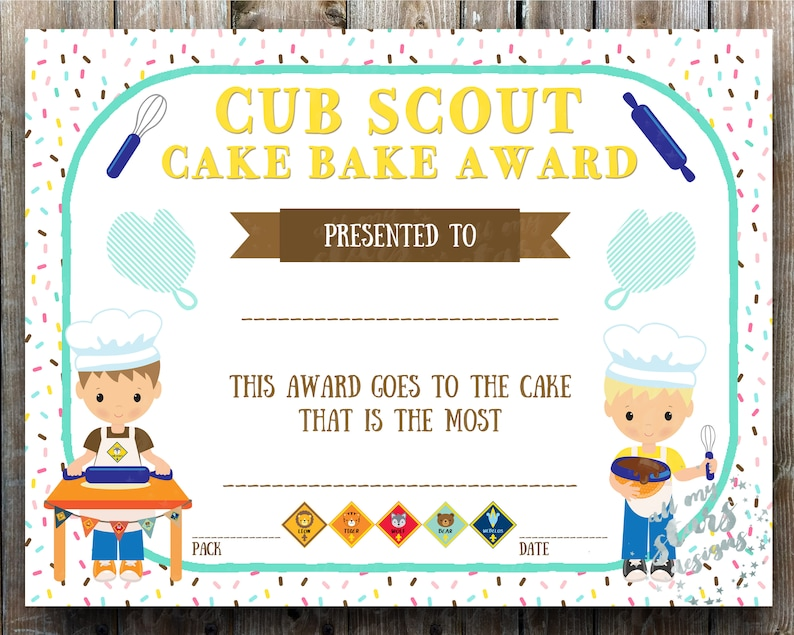 photo regarding Cub Scout Printable named Cub Scout Cake Bake Certification - 8.5x11\