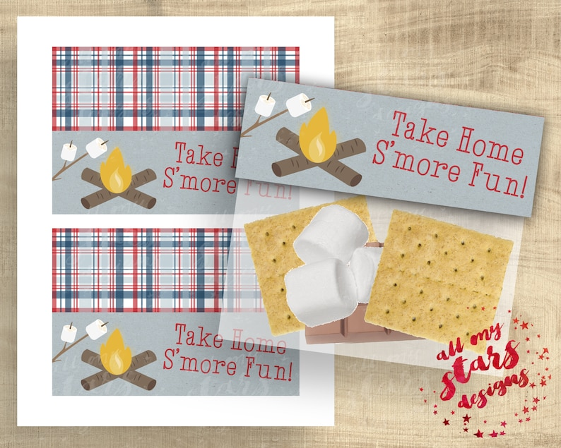 Sandwich Bag Treat Toppers Campfire Treat Favors INSTANT DOWNLOAD Treat Tag Camping Party Slumber Party Take Home S/'more Fun!