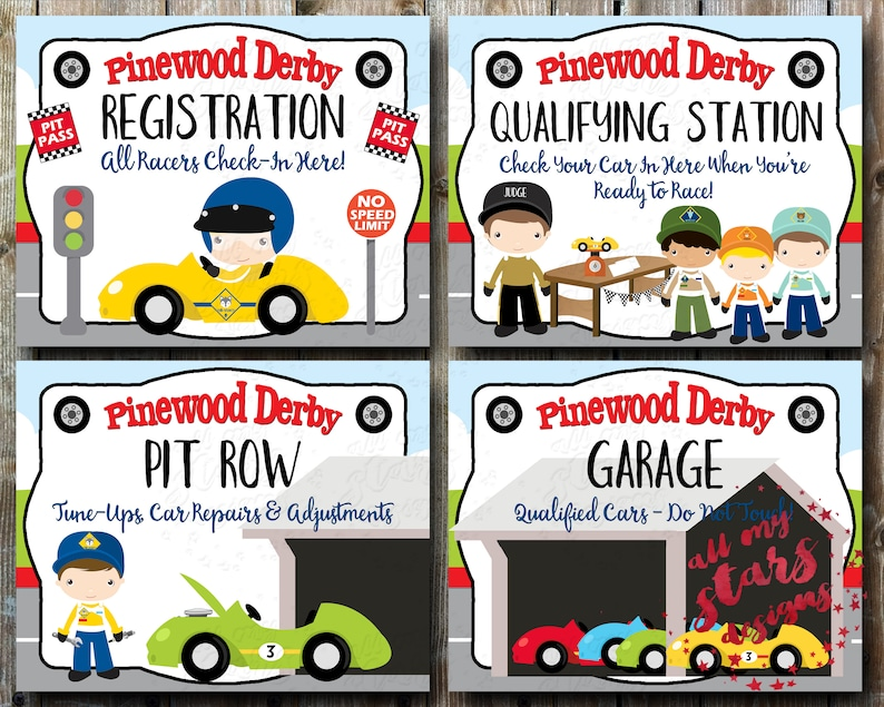 picture regarding Pinewood Derby Awards Printable titled Cub Scout Pinewood Derby Symptoms - Do it yourself Derby Printables Instantaneous Obtain  Incorporates Registration, Qualifying Station, Pit Row Garage Symptoms