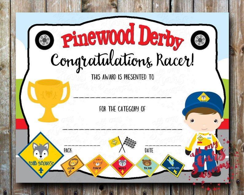 photo about Pinewood Derby Awards Printable named Cub Scout Pinewood Derby Group Certification - PDF Printable Award with Fillable Fields Fast Down load Racing Certification