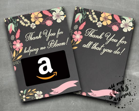 Floral Gift Card Holder Thank You For Helping Me Bloom Etsy