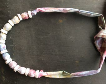 Hand dyed cotton and polymer clay necklace/bracelet
