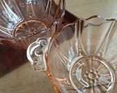 Pink Depression Glass Oyster pattern Bowls Set of 2 Shabby Bowls with Scalloped Handles and Circle Details