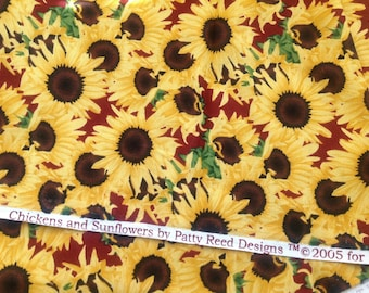 """Sunflower Fabric """"Chickens and Sunflowers"""" By Patty Reed Designs Fabric Traditions NTT"""