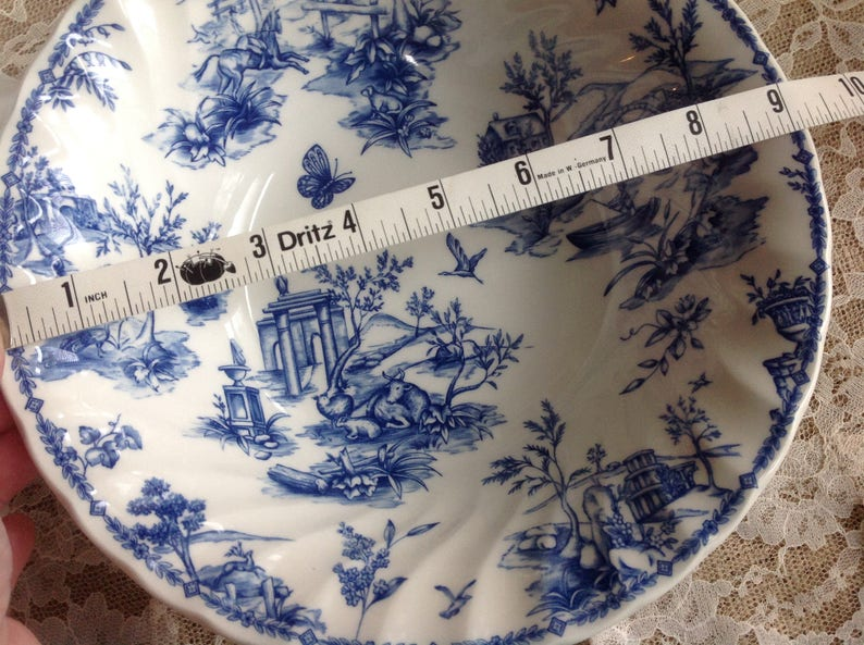 Churchill Toile Blue Round Serving Bowl Made in England  9 Serving Bowl  Click on Learn More about this item for details