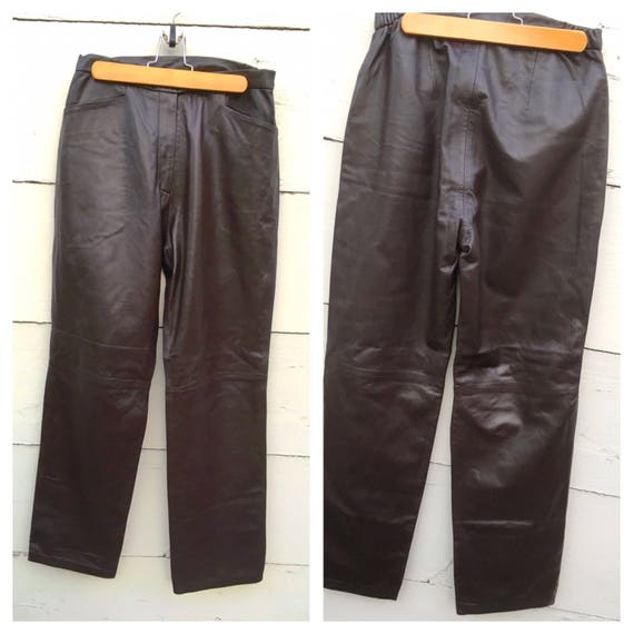 Vintage Chocolate brown leather pants for women, d