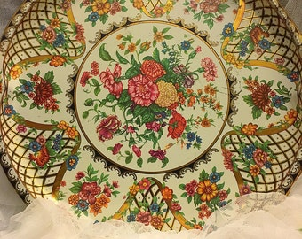 vintage large floral tin daher tray, floral tin trays, English floral Daher tray