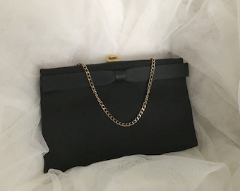 Vintage After Five Black Fabric Clutch Chain Evening Bag , Black clutch , black evening ba