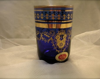 Cobalt blue glass cup with gold trim,  shabby petite cobalt blue vase , cobalt blue cup, glass tea cup