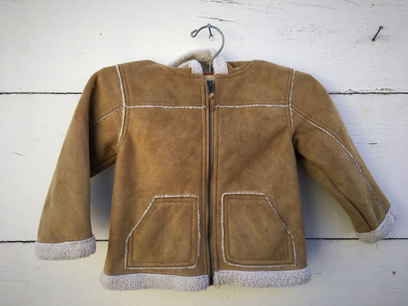 c19e58248b38 Vintage faux suede shearling jacket for kids faux suede coat