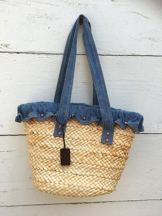 vintage Ralph Lauren weaved straw tote bag, Straw