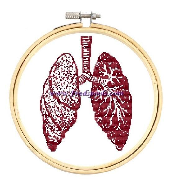 Contemporáneo Cross Stitch Kit \'Los pulmones\' cuerpo