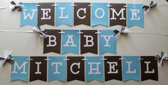New Baby Welcome Banner In Baby Blue And Brown For Hospital Etsy
