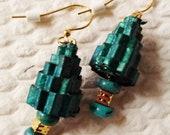 Green Blue Paper Earrings