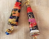 Paper Bead Earrings with Asian Paper