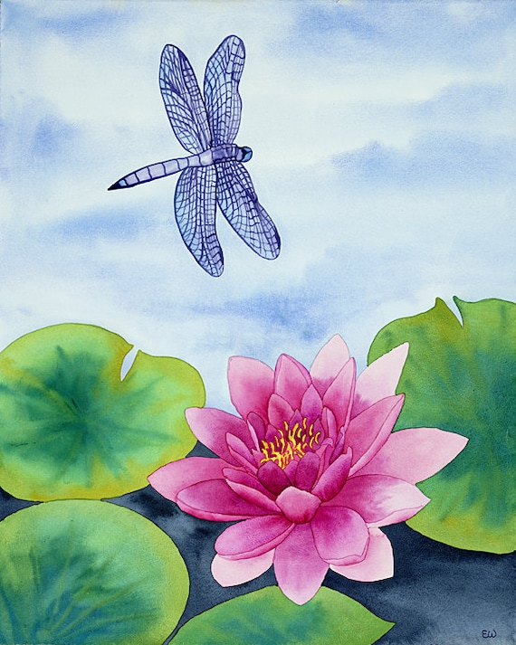 Dragonfly With Water Lily Watercolor Painting Pink Lotus Etsy