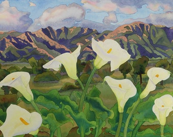 Calla Lilies and Santa Barbara Mountains Watercolor Painting, White Flowers Southern California Landscape Fine Art Print