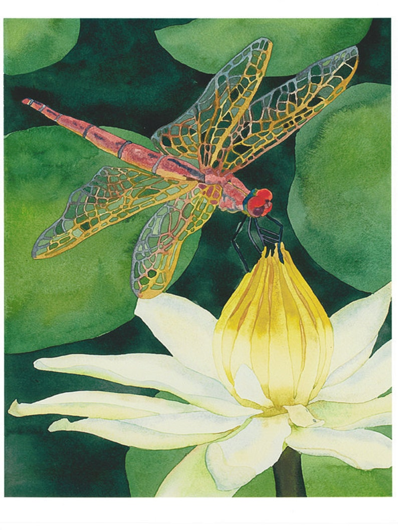 Dragonfly With Lotus Flower Watercolor Painting Green Nature Etsy