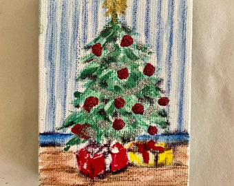Handpainted, glittery Christmas tree for your Christmas tree!
