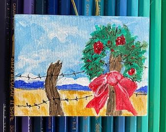 Little Christmas Wreath, Snowy Mountains, Cedar Fencepost -- hand painted tree ornament