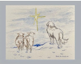 Peace on Earth -- Livestock Guardian Dog, Two Sheep and the Christmas Star