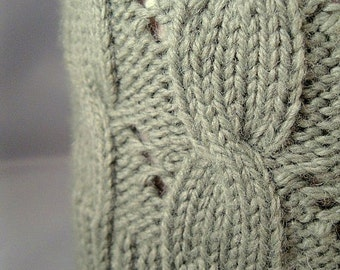 Handmade Cabled Knit Hat, Ivy Green