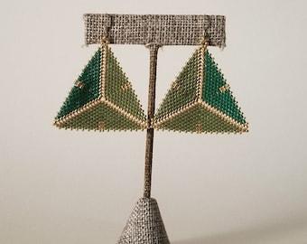 St. Patrick's Day Lucky Clover Geometric Beaded Earrings
