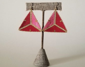 Red, Pink & Gold Ombre Geometric Beaded Earrings