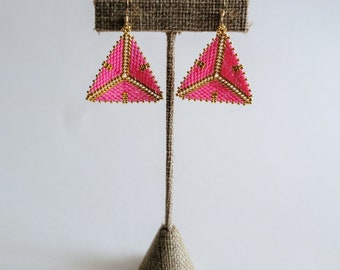 Bubble Gum Pink and Gold Tribal Geometric Earrings
